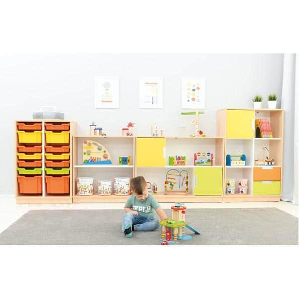 Möbelsatz Schrank M+L orange/gelb/limone - Quadro 86-180° - Ahorn 2