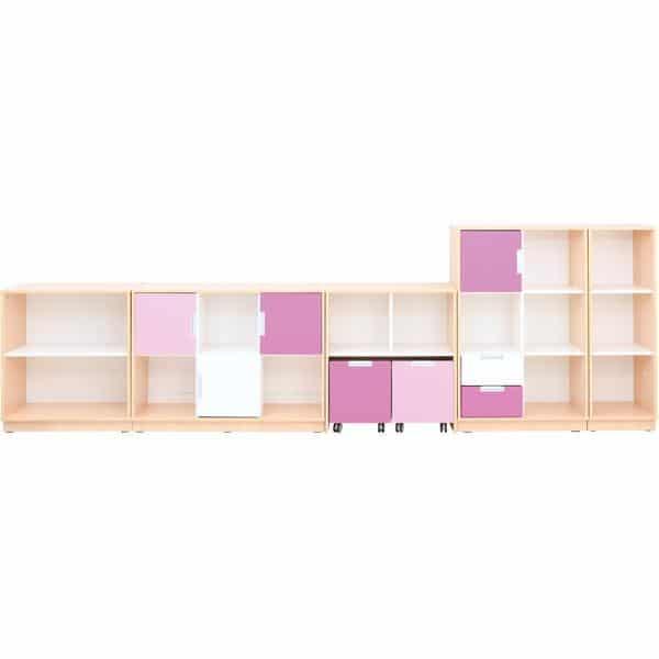 Möbelsatz Schrank M+L flieder/magenta - Quadro 87-180° - Ahorn 1