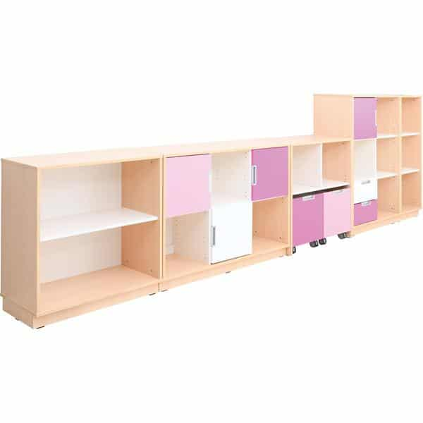 Möbelsatz Schrank M+L flieder/magenta - Quadro 87-180° - Ahorn 2