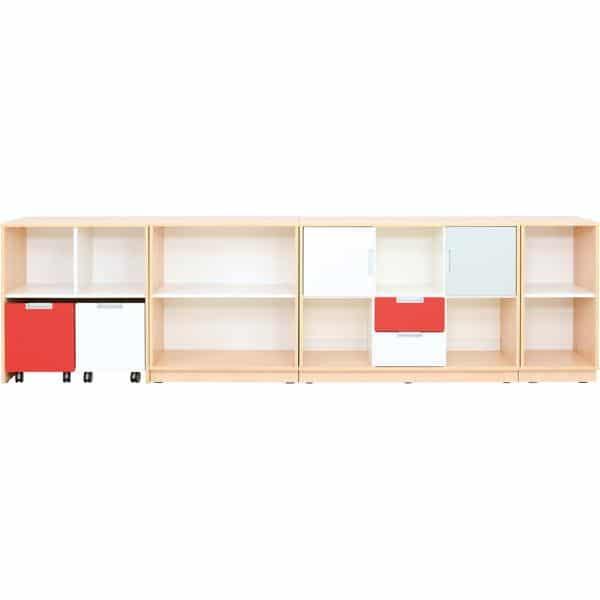 Möbelsatz Schrank M - grau/weiß/rot - Quadro 90 - Ahorn 1
