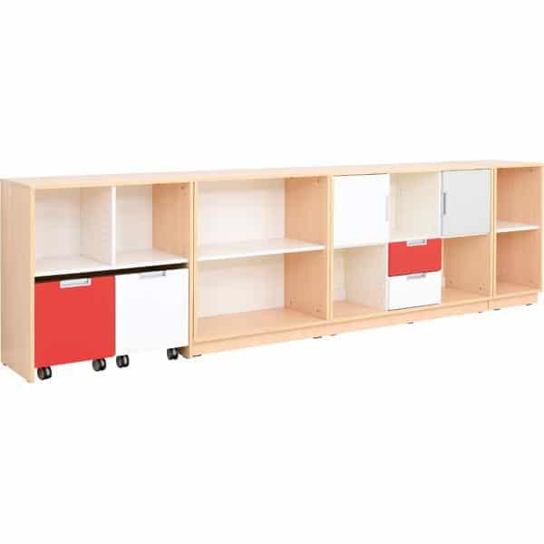 Möbelsatz Schrank M - grau/weiß/rot - Quadro 90 - Ahorn 2