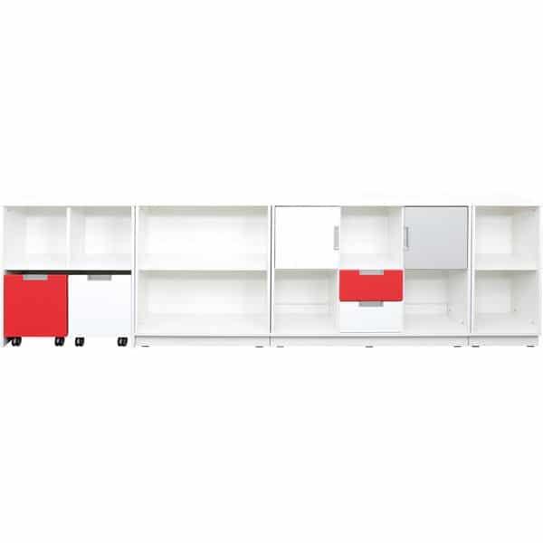 Möbelsatz Schrank M - grau/weiß/rot - Quadro 90 - Weiß 1