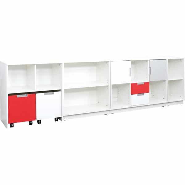 Möbelsatz Schrank M - grau/weiß/rot - Quadro 90 - Weiß 2