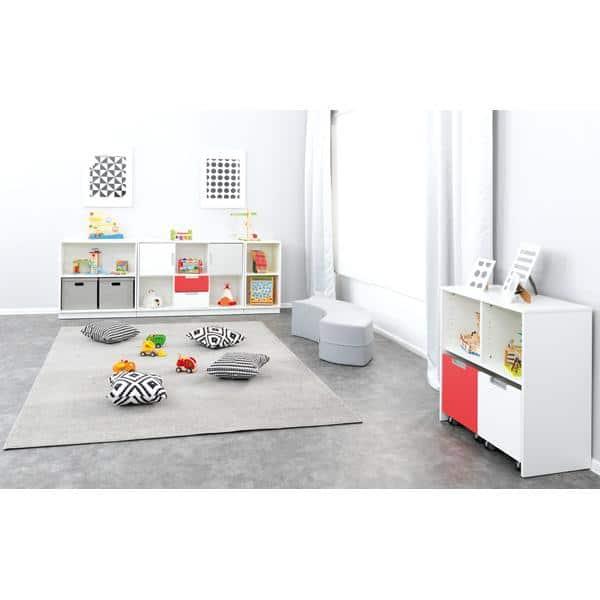 Möbelsatz Schrank M - grau/weiß/rot - Quadro 90 - Weiß 3
