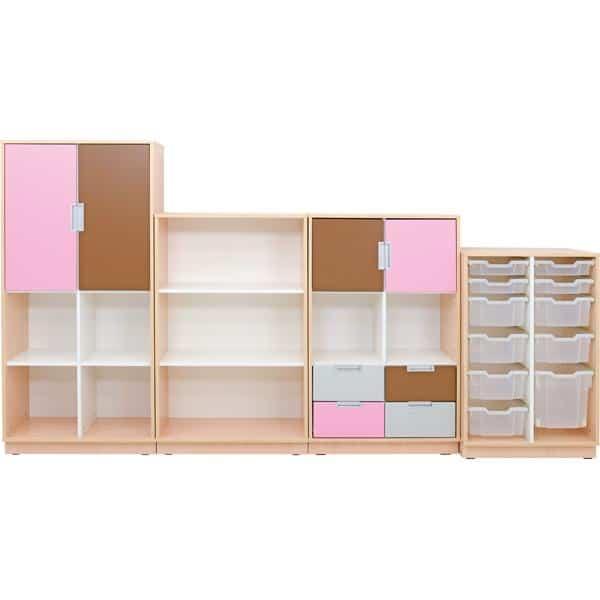 Möbelsatz Schrank L+M flieder/braun/grau - Quadro 91-180° - Ahorn 1