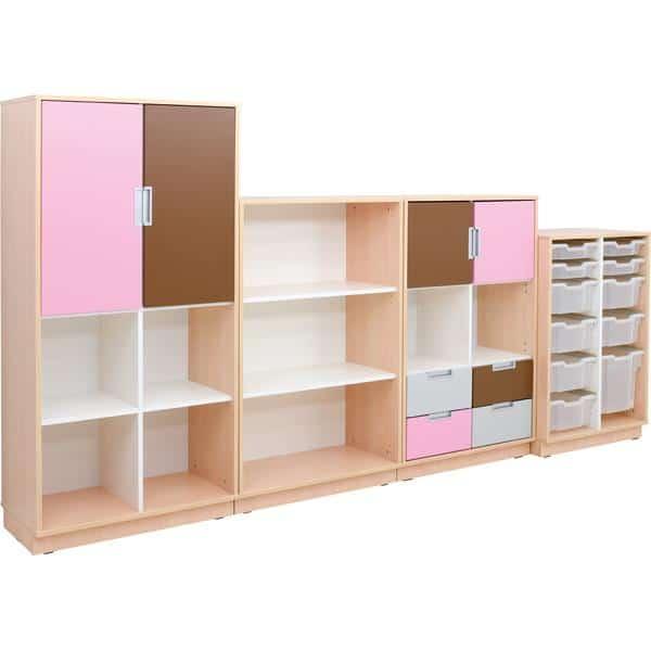 Möbelsatz Schrank L+M flieder/braun/grau - Quadro 91-180° - Ahorn 2