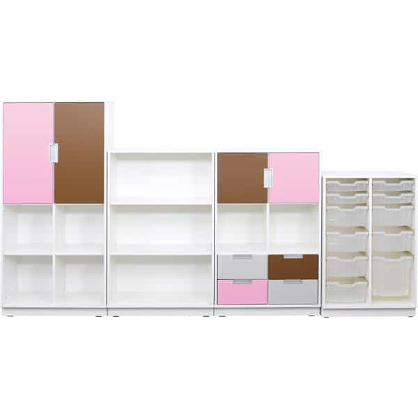 Möbelsatz Schrank L+M flieder/braun/grau - Quadro 91-180° - Weiß 1