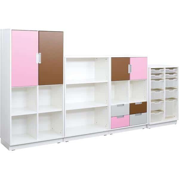 Möbelsatz Schrank L+M flieder/braun/grau - Quadro 91-180° - Weiß 2