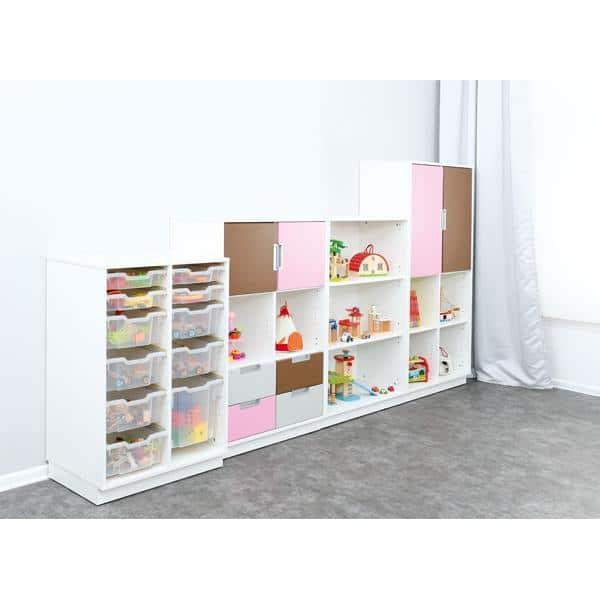 Möbelsatz Schrank L+M flieder/braun/grau - Quadro 91-180° - Weiß 3