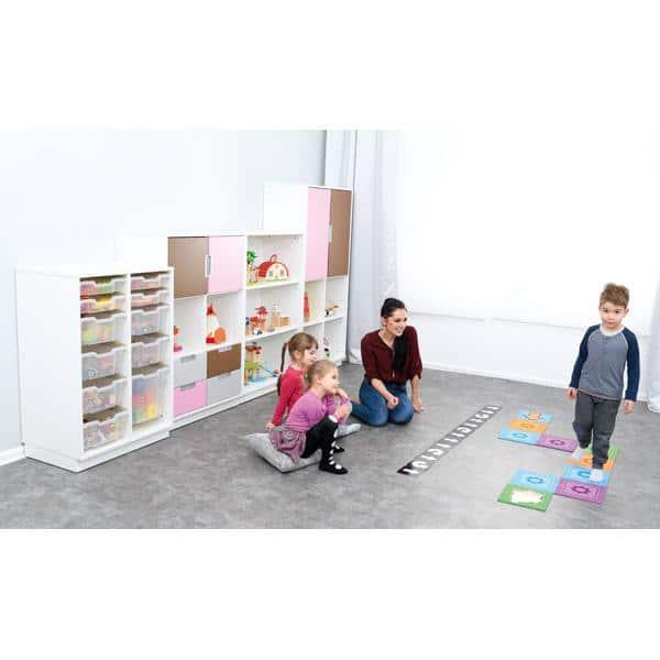 Möbelsatz Schrank L+M flieder/braun/grau - Quadro 91-180° - Weiß 4