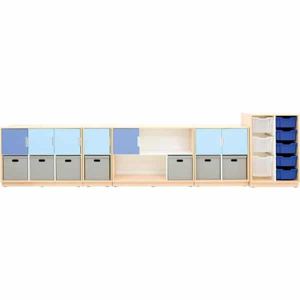 Möbelsatz Schrank M blau/grau - Quadro 108-180° - Ahorn 2