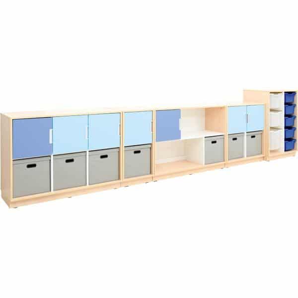 Möbelsatz Schrank M blau/grau - Quadro 108-180° - Ahorn 1
