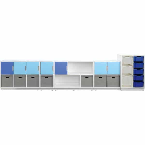 Möbelsatz Schrank M blau/grau - Quadro 108-180° - Weiß 2