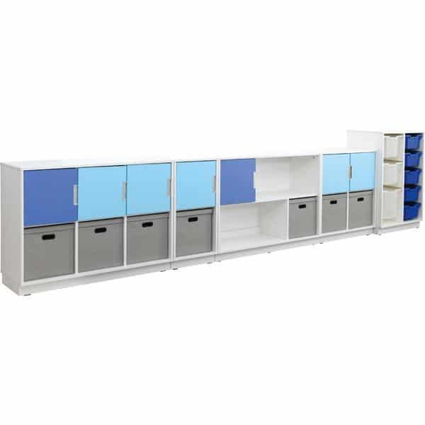 Möbelsatz Schrank M blau/grau - Quadro 108-180° - Weiß 1