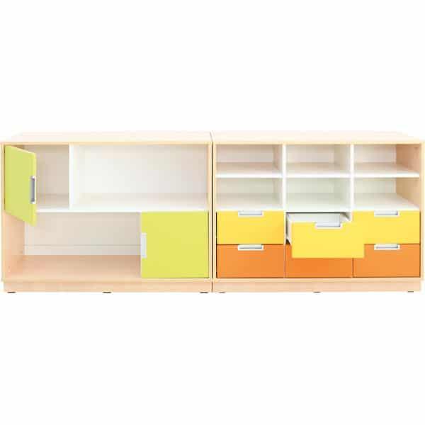Möbelsatz Schrank M orange/gelb/limone - Quadro 109-180° - Ahorn 2