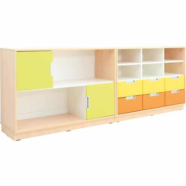 Möbelsatz Schrank M orange/gelb/limone - Quadro 109-180° - Ahorn 1
