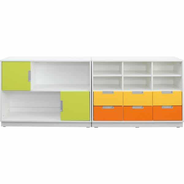 Möbelsatz Schrank M orange/gelb/limone - Quadro 109-180° - Weiß 2