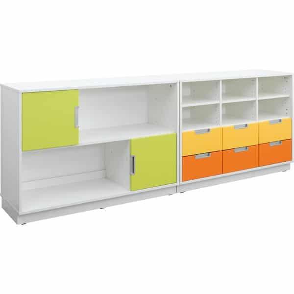 Möbelsatz Schrank M orange/gelb/limone - Quadro 109-180° - Weiß 1