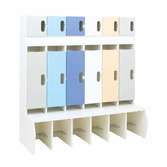 Kindergarten-Garderobe Grau-Blau-Töne - Chamäleon 6 - Weiß mit Türen 1