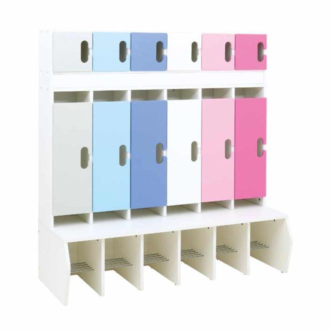 Kindergarten-Garderobe Blau-Flieder-Töne - Chamäleon 6 - Weiß mit Türen 1
