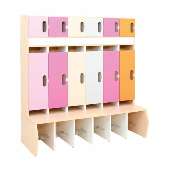 Kindergarten-Garderobe Magenta-Orange-Töne - Chamäleon 6 - Ahorn mit Türen 1