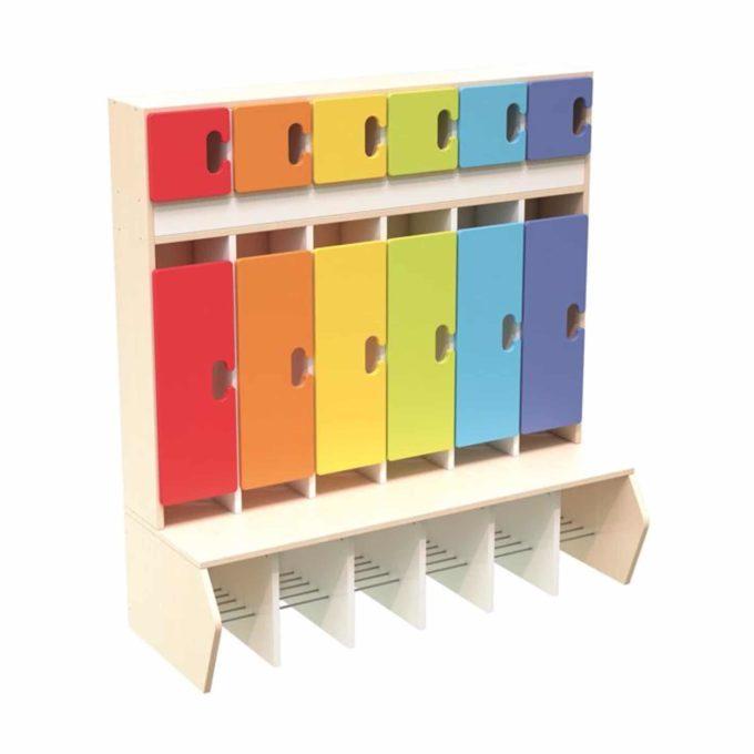 Kindergarten-Garderobe Regenbogen - Chamäleon 6 - Ahorn mit Türen 1