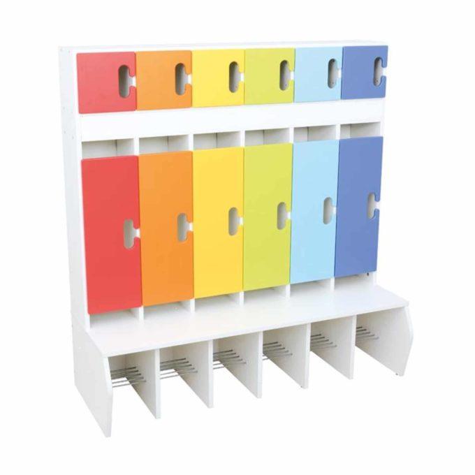 Kindergarten-Garderobe Regenbogen - Chamäleon 6 - Weiß mit Türen 1