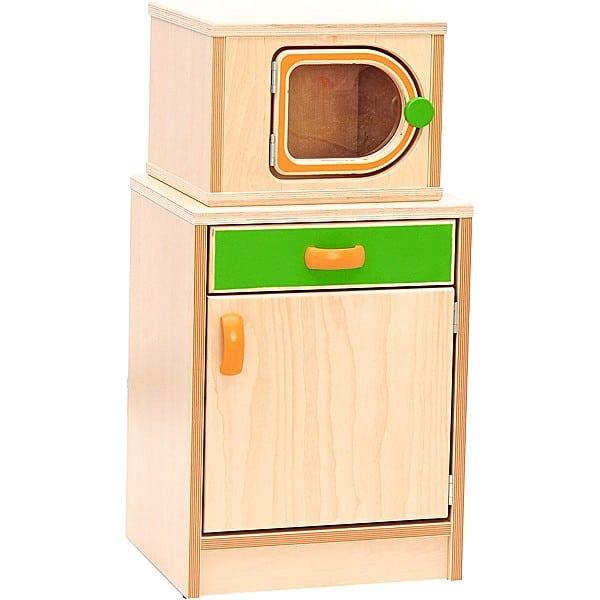 Kindergarten-Spielecke Hannah - Küchenschrank mit Mikrowelle 1