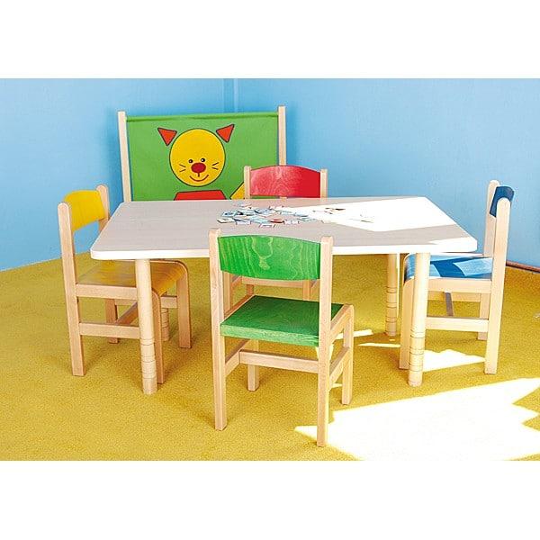 Kindergarten-Tisch mit verstärkter Tischplatte (quadratisch, Birke) 5