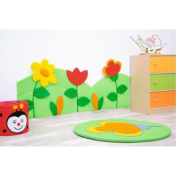 Wanddekoration - Wiese mit 3 Blumen - grün/rot 2