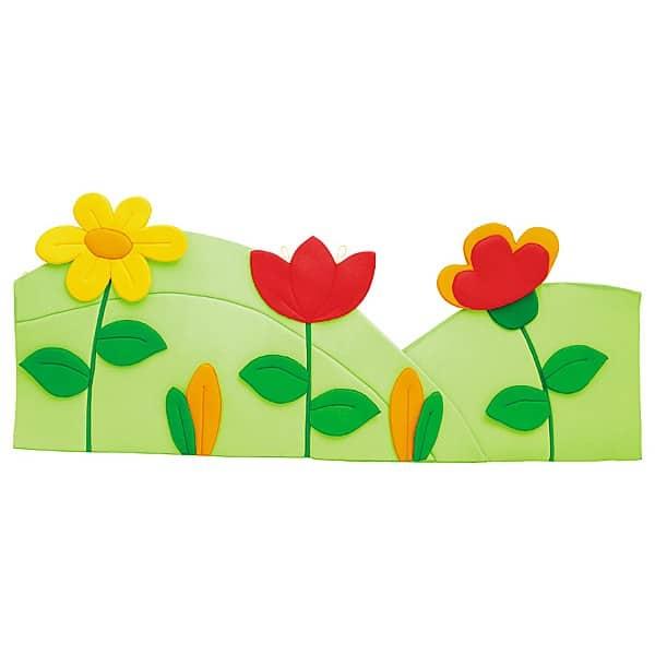 Wanddekoration - Wiese mit 3 Blumen - grün/rot 1