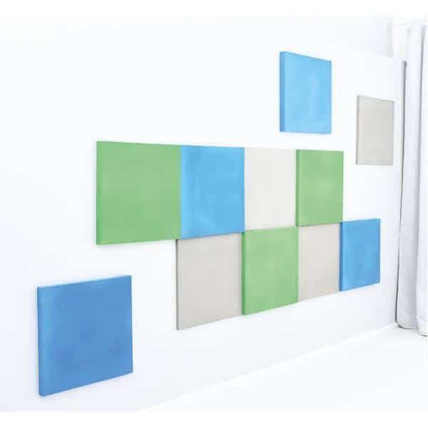 Akustik-Wandpaneele-Set - Quadrate - moosgrün/platin/blau 1