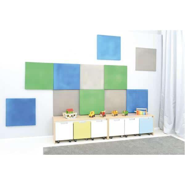 Akustik-Wandpaneele-Set - Quadrate - moosgrün/platin/blau 3