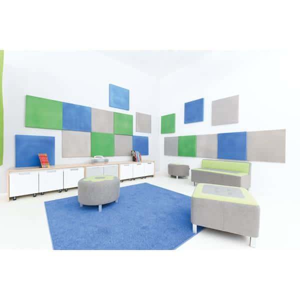 Akustik-Wandpaneele-Set - Quadrate - moosgrün/platin/blau 2
