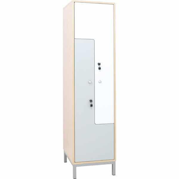 Kleiderschrank L mit 2 Fächern - weiß-graue Türen 1