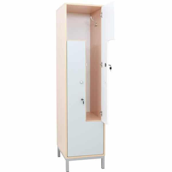 Kleiderschrank L mit 2 Fächern - weiß-graue Türen 2