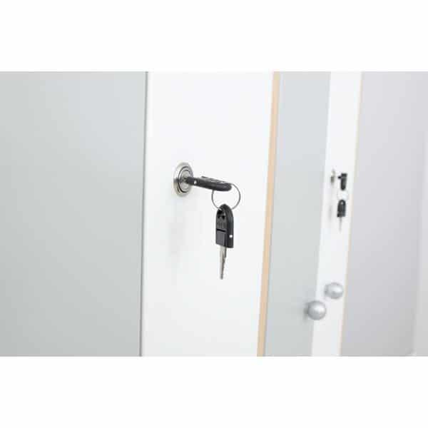 Kleiderschrank L mit 2 Fächern - weiß-graue Türen 3