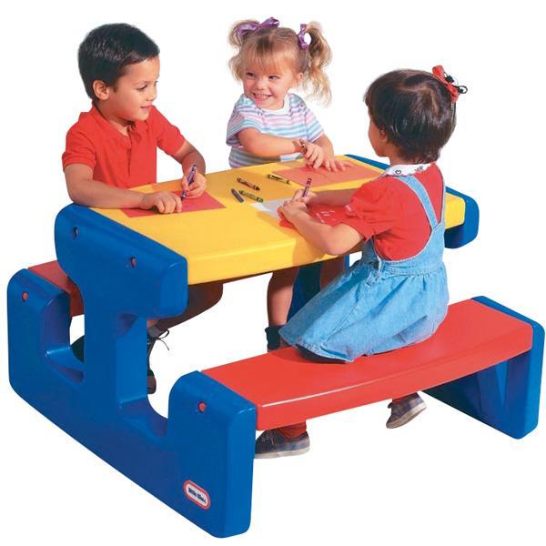 Großer Picknicktisch - blau/rot/gelb 1