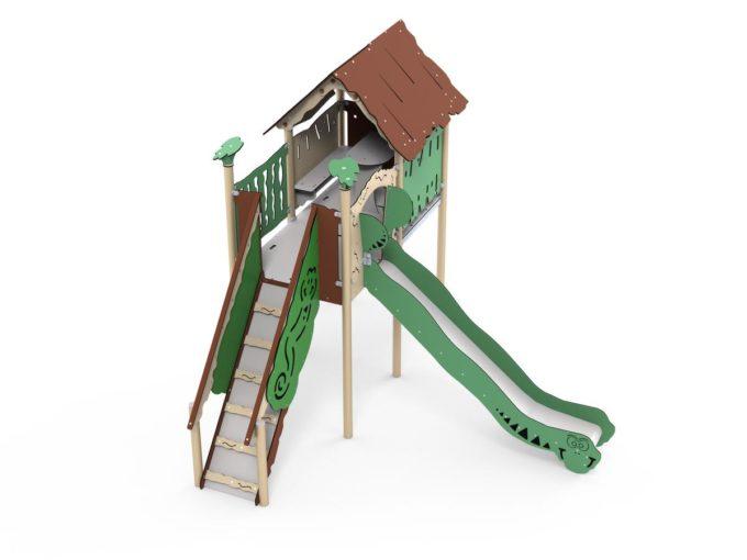 Spielplatz Mayan - mit integriertem Spielhaus und Rutsche - LEDON Explore - EX142 1