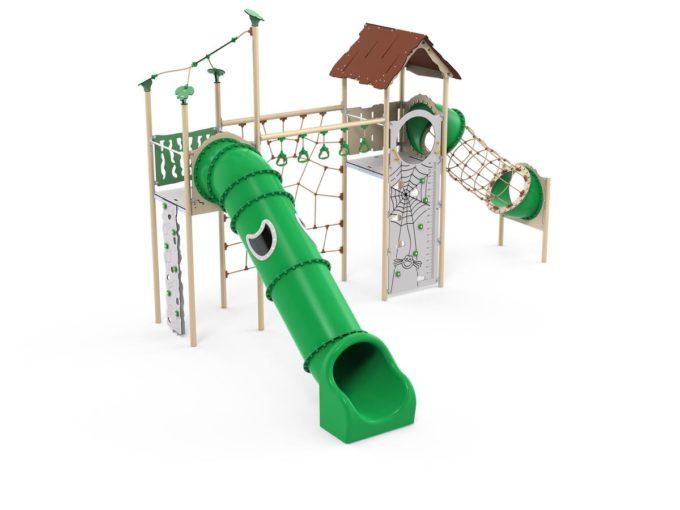 Zwei-Turm-Spielanlage Yaki - Röhrenrutsche- und Kletternetz - LEDON Explore - EX245 1