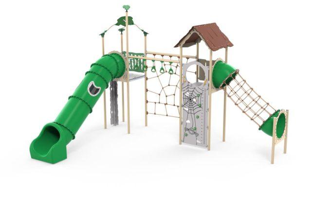 Zwei-Turm-Spielanlage Yaki - Röhrenrutsche- und Kletternetz - LEDON Explore - EX245 3