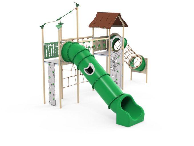 Zwei-Turm-Spielanlage Yaki - Röhrenrutsche- und Kletternetz - LEDON Explore - EX245 2