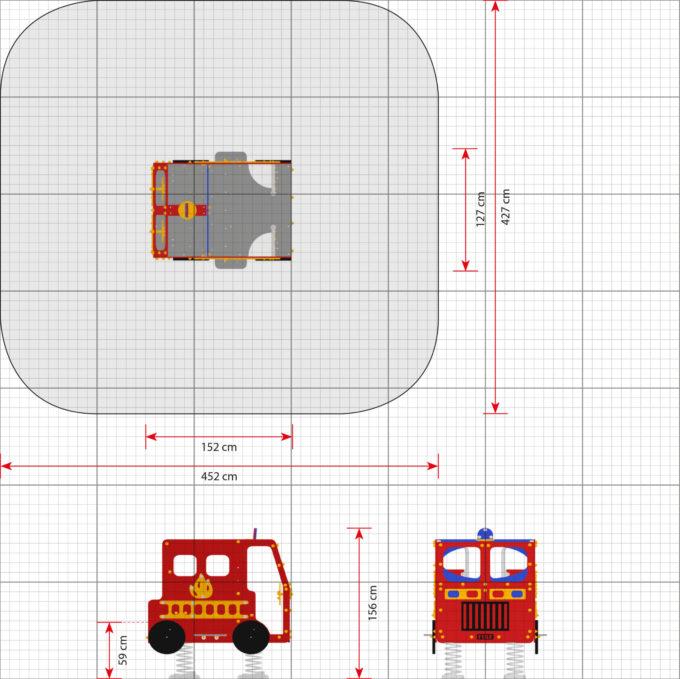 Spielhaus Feuerwehrauto auf Federn - LEDON Originals - 1701-02 2