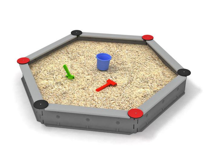 LEDON Sandkasten sechseckig mit 6 Seiten - verschiedene Ausführungen 14