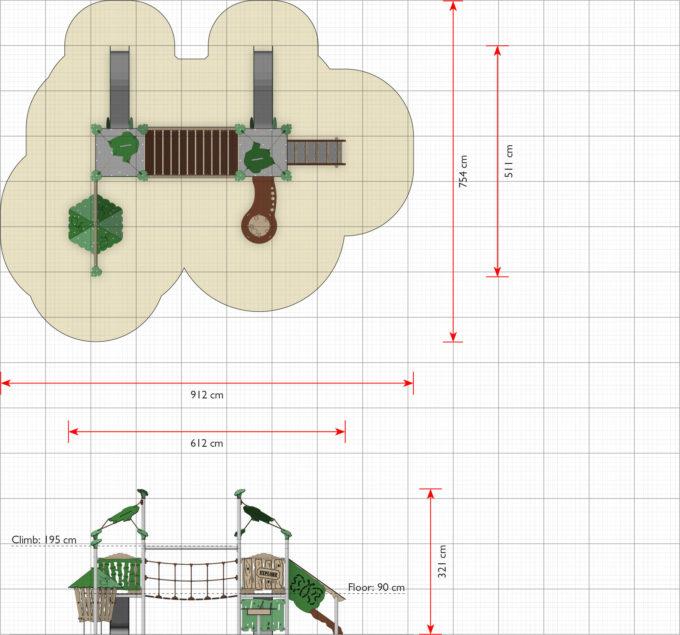 Zwei-Turm-Spielanlage Dixo - inkl. Hängebrücke & Rutschen - LEDON Explore - EX216 2