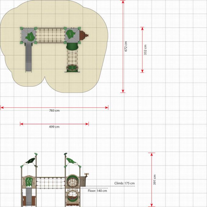 Zwei-Turm-Spielanlage Kepal - Diamanten- und Höhlenspielwände - LEDON Explore - EX235 3