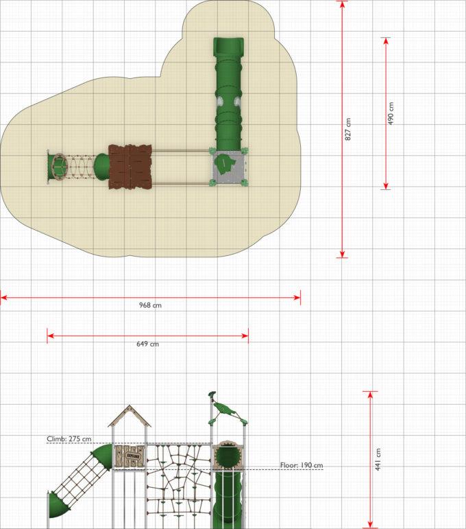 Zwei-Turm-Spielanlage Yaki - Röhrenrutsche- und Kletternetz - LEDON Explore - EX245 4