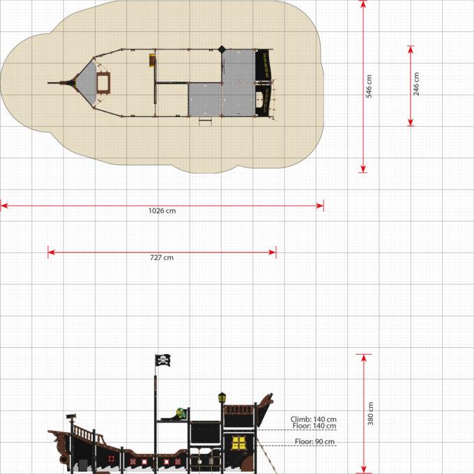 großes Piratenschiff Elisabeth mit Strickleiter - LEDON Pirates - LP310 3