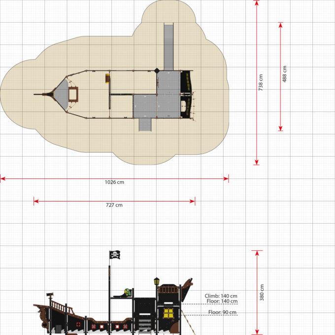 großes Piratenschiff Victoria mit Treppe und Rutsche - LEDON Pirates - LP313 31