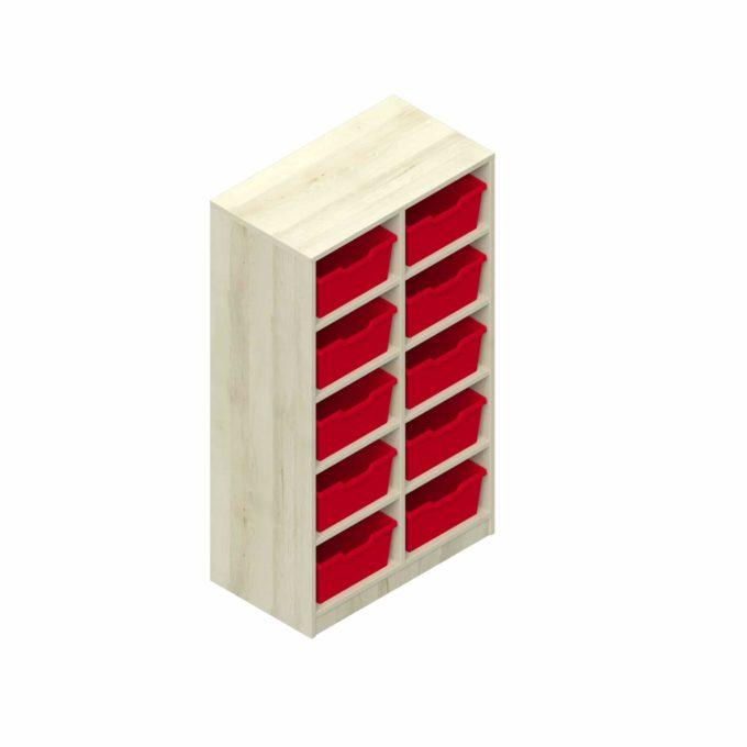 Garderobenregal - 10 offene Fächer mit 10 Kunststoffboxen 1